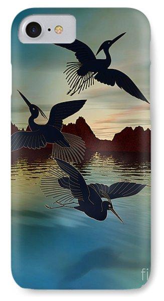 3 Black Herons At Sunset Phone Case by Bedros Awak