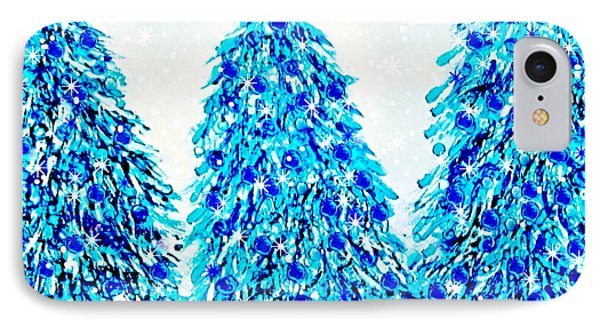 3 Blue Christmas Trees Alcohol Inks  IPhone Case by Danielle  Parent