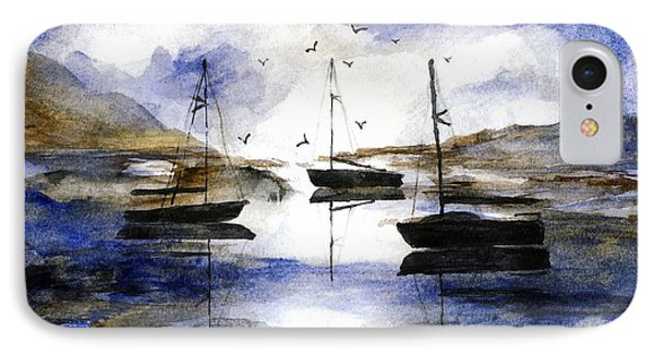 3 Boats In Cat Harbor IPhone Case by Randy Sprout