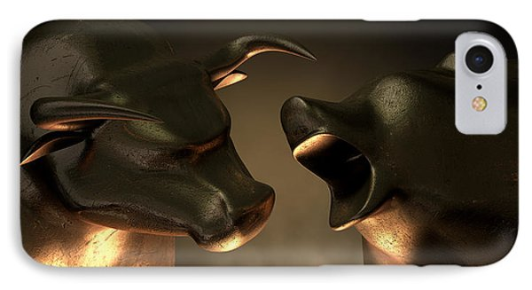 Bull And Bear Market Statues IPhone Case by Allan Swart