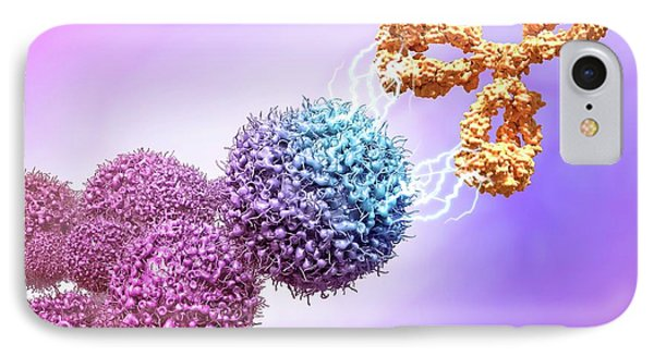 Cancer Drug Attacking Cancer Cells IPhone Case by Maurizio De Angelis