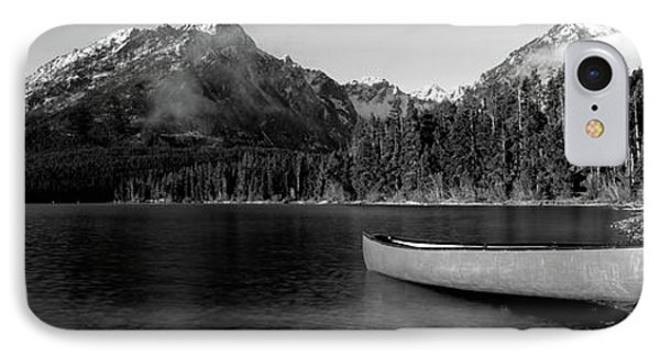 Canoe In Lake In Front Of Mountains IPhone Case
