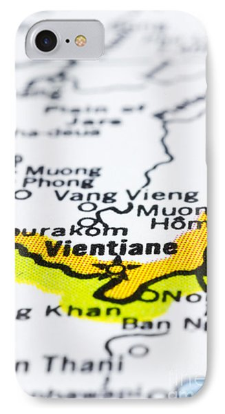 close up of vientiane on map-Laos Phone Case by Tuimages