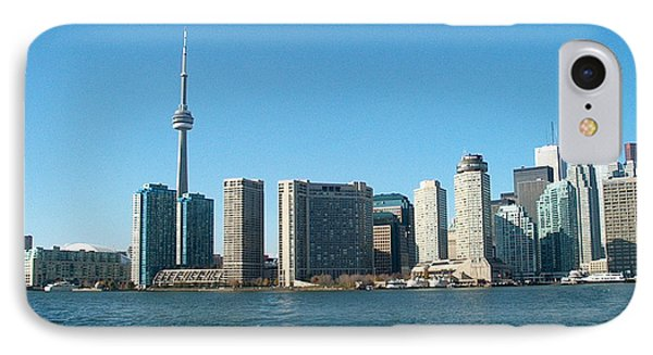 Cn Tower Toronto View From Centre Island Downtown Panorama Improvised With Graphic Artist Tools Pain IPhone Case by Navin Joshi