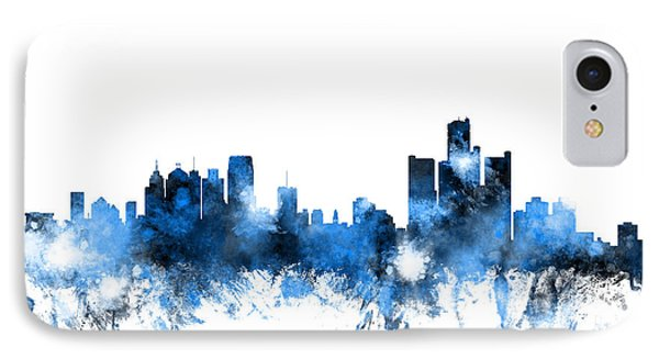 Detroit Michigan Skyline IPhone Case by Michael Tompsett