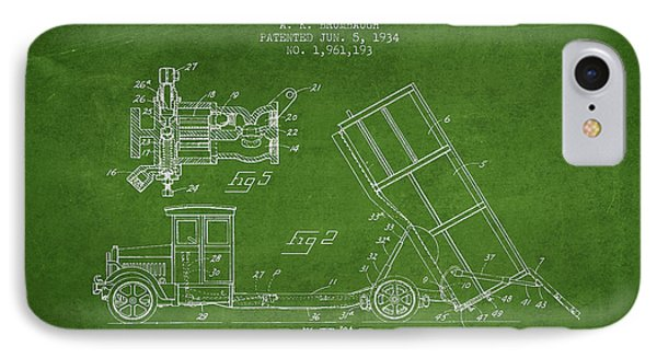 Dump Truck Patent Drawing From 1934 IPhone Case by Aged Pixel