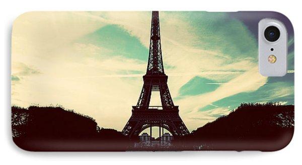 Eiffel Tower In Paris Fance In Retro Style Phone Case by Michal Bednarek