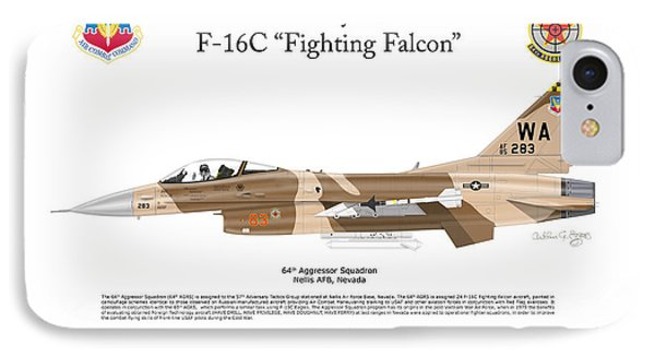 IPhone Case featuring the digital art F-16c Fighting Falcon by Arthur Eggers