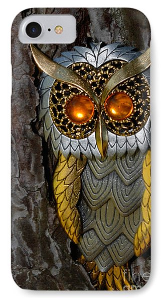Faux Owl With Golden Eyes Phone Case by Amy Cicconi