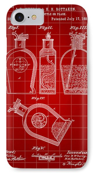 Flask Patent 1888 - Red IPhone Case by Stephen Younts