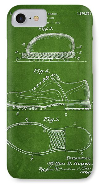 Golf Shoe Patent Drawing From 1931 IPhone Case