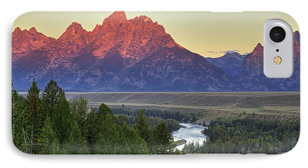 IPhone Case featuring the photograph Grand Tetons Morning At The Snake River Overview - 2 by Alan Vance Ley