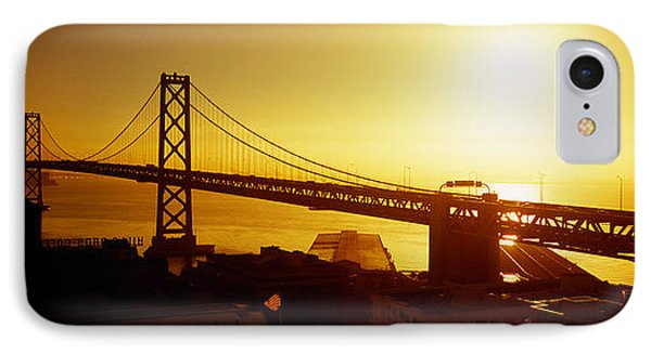 High Angle View Of A Suspension Bridge IPhone Case by Panoramic Images