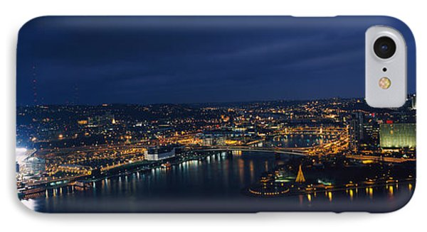 High Angle View Of Buildings Lit IPhone Case