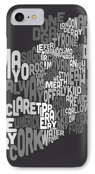 Ireland Eire County Text Map Phone Case by Michael Tompsett