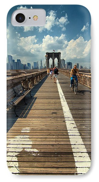 Lanes For Pedestrian And Bicycle Traffic On The Brooklyn Bridge IPhone Case by Amy Cicconi