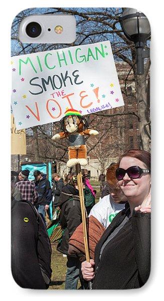 University Of Michigan iPhone 7 Case - Legalisation Of Marijuana Rally by Jim West