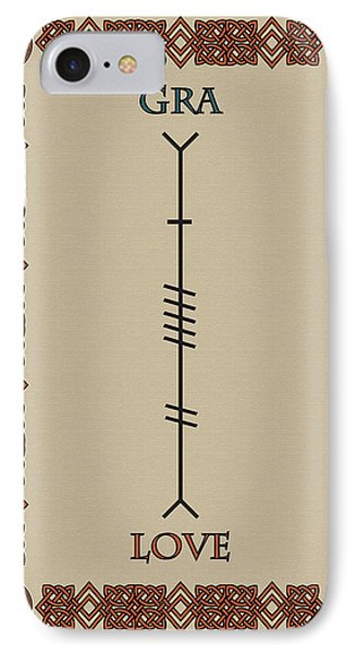 Love Written In Ogham IPhone Case by Ireland Calling