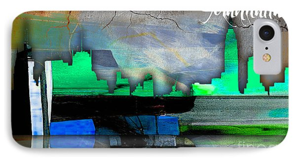 Manhattan Skyline Watercolor IPhone Case by Marvin Blaine