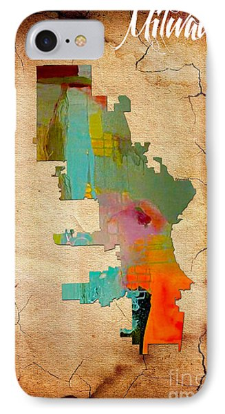 Milwaukee Map Watercolor IPhone Case by Marvin Blaine