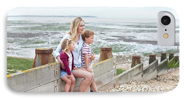 Mother With Children On Beach IPhone Case by Ian Hooton