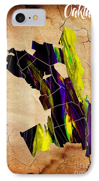 Oakland Map Watercolor IPhone Case by Marvin Blaine