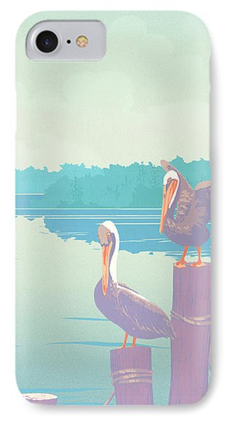 Abstract Pelicans Tropical Florida Seascape Large Pop Art Nouveau 80s 1980s Stylized Painting Phone Case by Walt Curlee