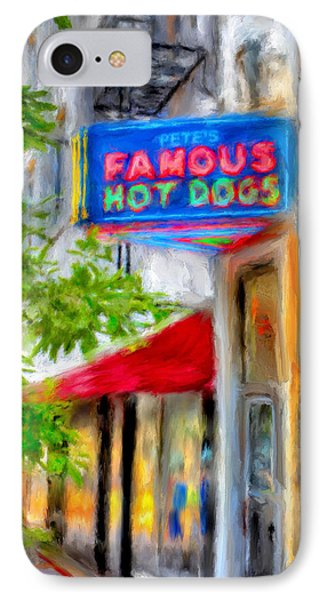 Pete's Famous Hot Dogs IPhone Case by Fred Baird