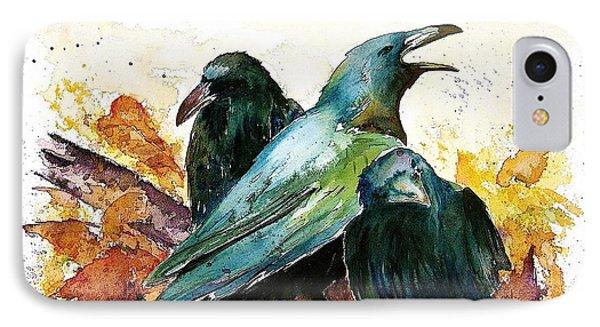 3 Ravens IPhone Case by Carolyn Doe
