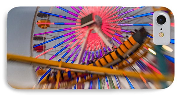 Santa Monica Pier Ferris Wheel And Roller Coaster At Dusk IPhone Case by Scott Campbell