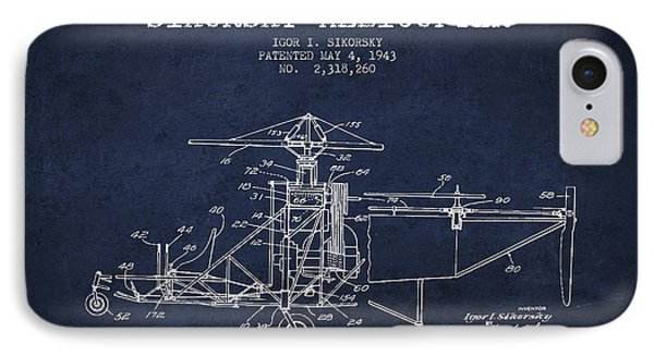 Sikorsky Helicopter Patent Drawing From 1943 Phone Case by Aged Pixel