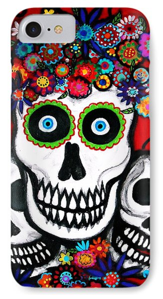 IPhone Case featuring the painting 3 Skulls by Pristine Cartera Turkus
