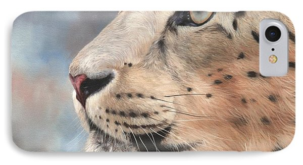 Snow Leopard IPhone Case by David Stribbling