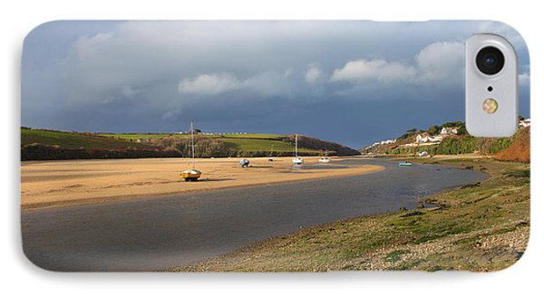 IPhone Case featuring the photograph Storm Approaches The Gannel Estuary Newquay Cornwall by Nicholas Burningham
