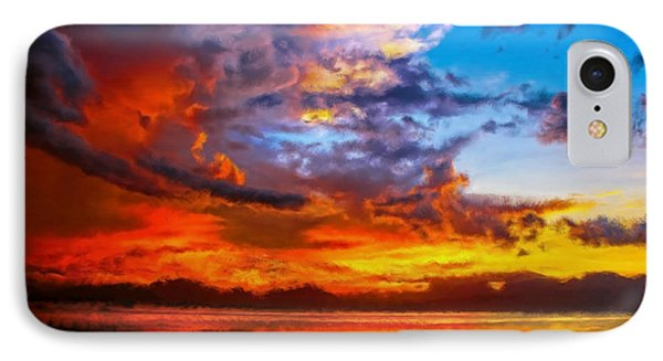 Sunset On The Sea IPhone Case by Bruce Nutting