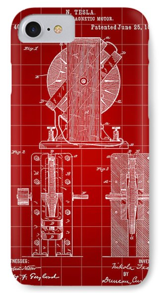 Tesla Electro Magnetic Motor Patent 1889 - Red IPhone Case by Stephen Younts