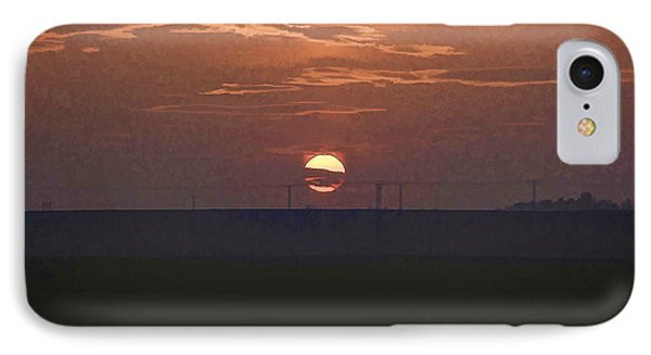 The Setting Sun In The Distance With Clouds IPhone Case by Ashish Agarwal