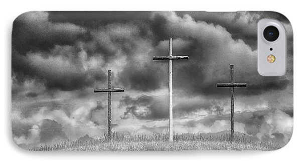 Three Crosses On Hill Phone Case by Thomas R Fletcher