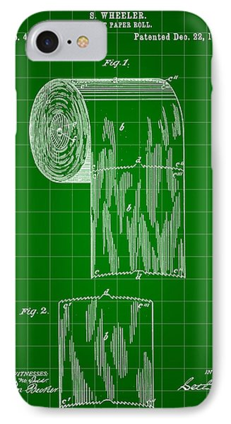 Toilet Paper Roll Patent 1891 - Green IPhone Case by Stephen Younts