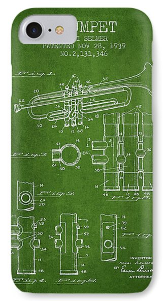 Trumpet Patent From 1939 - Green IPhone Case by Aged Pixel