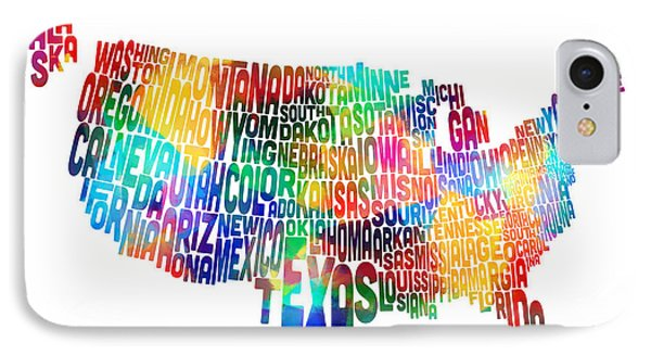 United States Typography Text Map Phone Case by Michael Tompsett