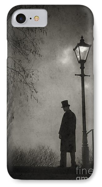 Victorian Man Standing Next To An Illuminated Gas Lamp Phone Case by Lee Avison
