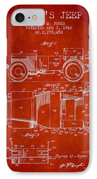 Vintage Willys Jeep Patent From 1942 IPhone Case by Aged Pixel