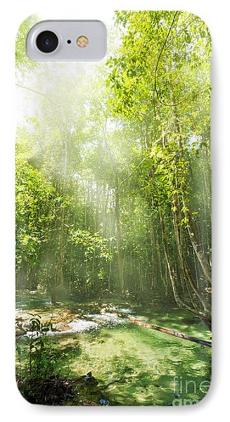 Waterfall In Rainforest IPhone Case by Atiketta Sangasaeng
