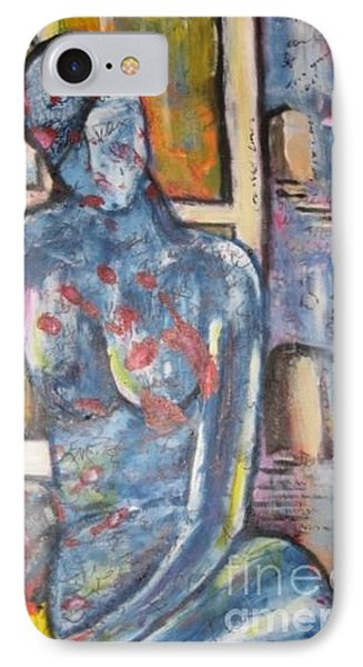 Woman Blue Phone Case by Chaline Ouellet