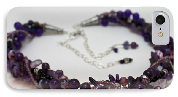 3607 Multi Strand Adjustable Amethyst Necklace IPhone Case by Teresa Mucha