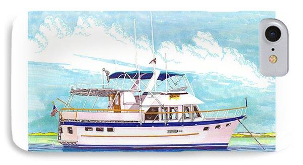 37 Foot Marine Trader 37 Trawler Yacht At Anchor Phone Case by Jack Pumphrey