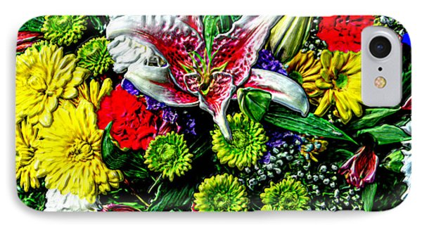 3d Flowers With Hdr IPhone Case by Bruce Nutting