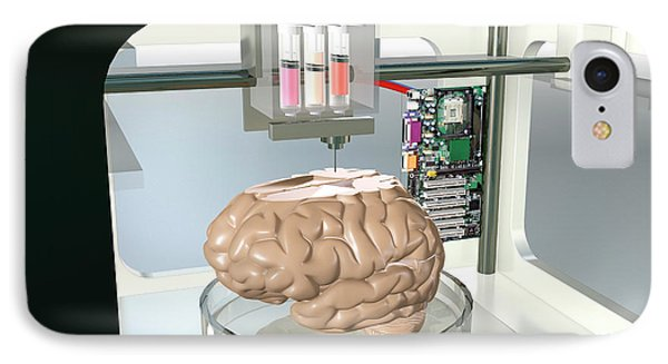 3d Printed Brain IPhone Case by Christian Darkin