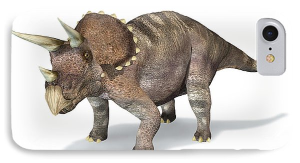3d Rendering Of A Triceratops Dinosaur IPhone Case by Leonello Calvetti